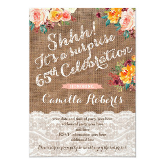 Fall flowers 65th Surprise Birthday Party Invites