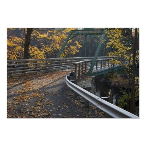 Fall foliage and a bridge over the Millers Print