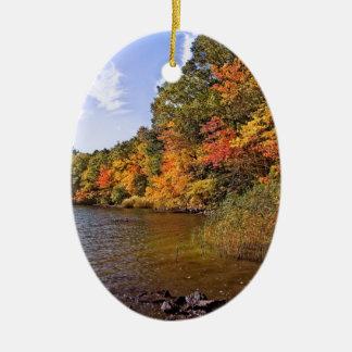 Fall Foliage at Spot Pond Ceramic Ornament
