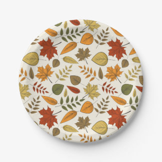 Fall Foliage Autumn Leaves Thanksgiving Party Paper Plate