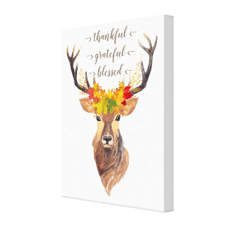 Fall Foliage Deer Head Thanksgiving Monogram Canvas Print