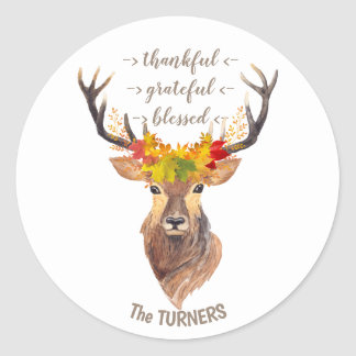 Fall Foliage Deer Head Thanksgiving Monogram Classic Round Sticker