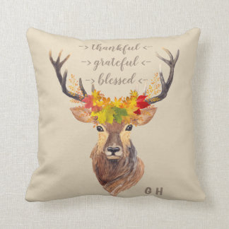 Fall Foliage Deer Head Thanksgiving Monogram Cushion
