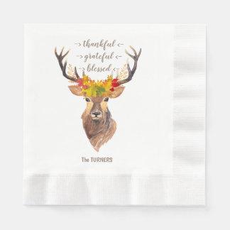 Fall Foliage Deer Head Thanksgiving Monogram Disposable Serviette