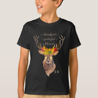 Fall Foliage Deer Head Thanksgiving Monogram T-Shirt