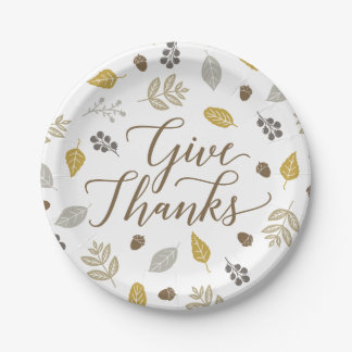 Fall Foliage Give Thanks Thanksgiving Plates