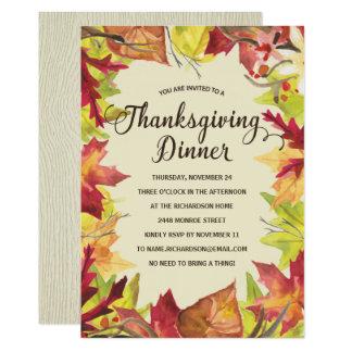 Fall Foliage   Thanksgiving Dinner Invitation