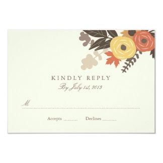 Fall Foliage Wedding RSVP 9 Cm X 13 Cm Invitation Card