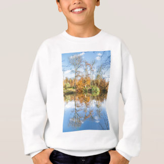 Fall forest with mirror image in water sweatshirt