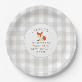 Fall Fox baby shower decor, neutral gray gingham Paper Plate