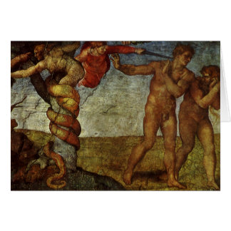 Fall from the Garden of Eden by Michelangelo Greeting Card