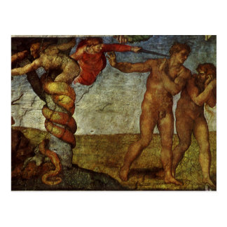 Fall from the Garden of Eden by Michelangelo Postcard