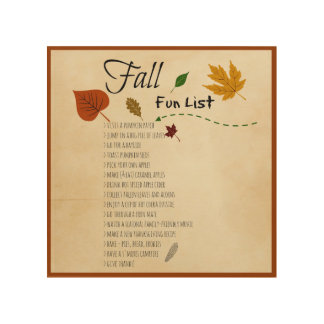 Fall Fun List Seasonal Autumn Harvest Activities Wood Prints