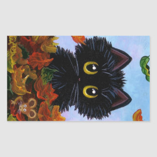 Fall Funny Black Cat Stickers Mouse Creationarts