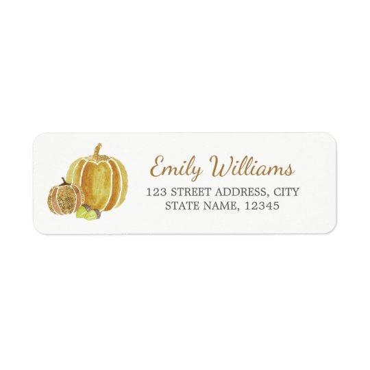 Fall Glitter Gold Pumpkin Label