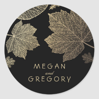 Fall Gold and Black Leaves Wedding Round Sticker