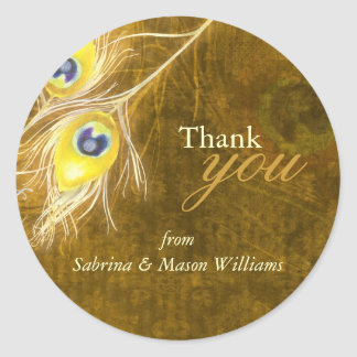 Fall Gold Brown Peacock Wedding Thank You Stickers