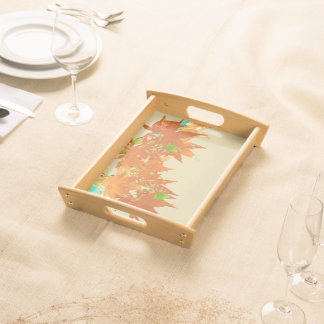 Fall Gold Japanese Maple Leaves Canopy garland Serving Tray