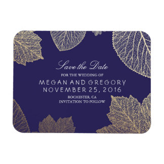 Fall Gold Leaves Navy Save the Date Rectangular Photo Magnet