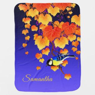 Fall Grape Vine Great Tit Bird Orange Leaves Blue Baby Blanket