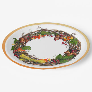 Fall Grape Vine Wreath Paper Plate