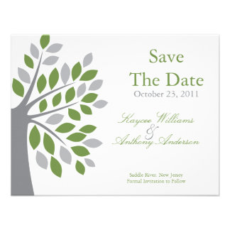 Fall Green Tree Save The Date Announcement