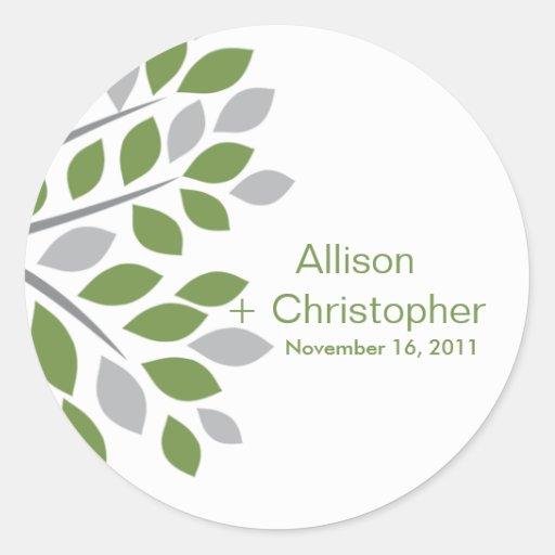 Fall Green Tree  Wedding Sticker
