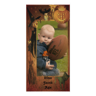 Fall Halloween Picture Frame Design Picture Card