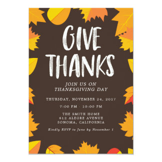 Fall Handwritten Thanksgiving Party Invitation