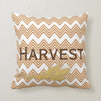 Fall Harvest Chevron Print Wheat Throw Pillow