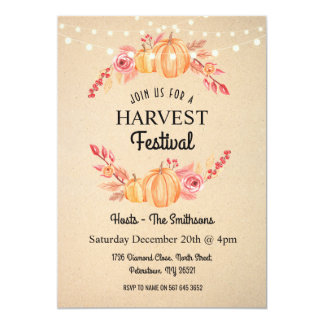 Fall Harvest Festival Pumpkin Floral Wreath Invite