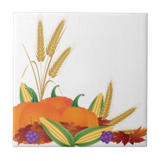 Fall Harvest Illustration Ceramic Tile
