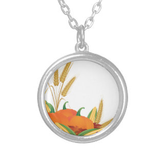 Fall Harvest Illustration Silver Plated Necklace