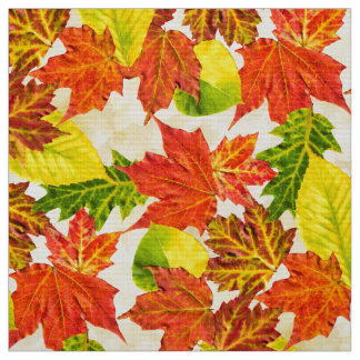 Fall Harvest Leaves Pattern Fabric