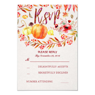Fall Harvest Pumpkins Rustic Wedding Rsvp Card