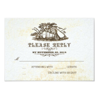 Fall harvest rustic country wedding RSVP card