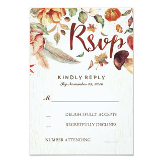 Fall Harvest Rustic Wedding Rsvp Card