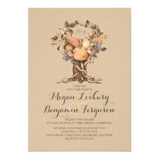 fall harvest tree vintage wedding invitation