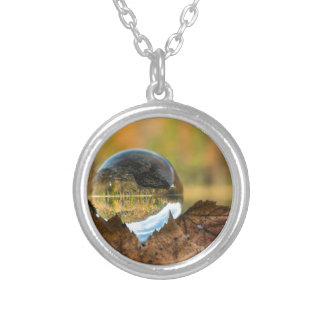Fall in a ball silver plated necklace