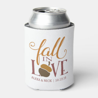 Fall in Love | Autumn Acorn Personalized Favor Can Cooler