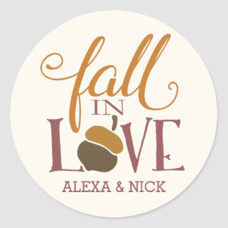 Fall in Love | Autumn Acorn Personalized Round Sticker