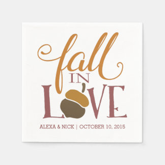 Fall in Love | Autumn Acorn Wedding Engagement Paper Napkins