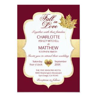 FALL IN LOVE Autumn Burgundy Gold Leaf Wedding Card