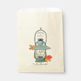 Fall In Love Autumn Leaves and Lantern Wedding Favour Bag