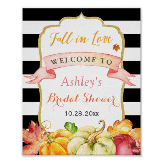 Fall in Love Autumn Leaves Pumpkin Bridal Shower Poster