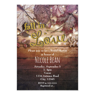 FALL IN LOVE Autumn Leaves Rustic Bridal Shower Card