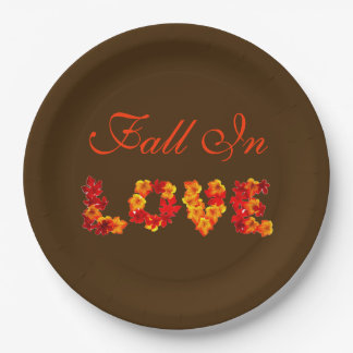 Fall In Love Autumn Wedding Colorful Leaves Rustic 9 Inch Paper Plate