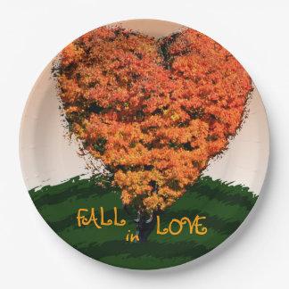 Fall In Love Autumn Wedding Rustic Design 9 Inch Paper Plate