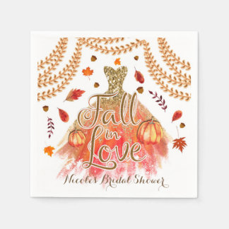 Fall in Love Bridal Shower Dress & Autumn Leaves Paper Serviettes
