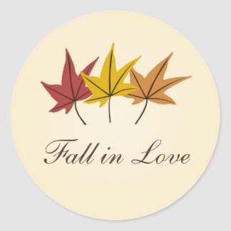 Fall in Love Bridal Shower or Wedding Classic Round Sticker
